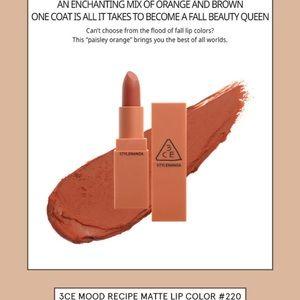 New 3CE Mood Recipe Matte Lipstick #220 Hit Me Up